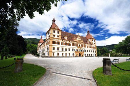 Eggenberg castle in Graz, main facade view Stock Photo