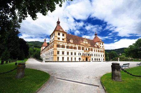 Eggenberg castle in Graz, main facade view Stock Photo