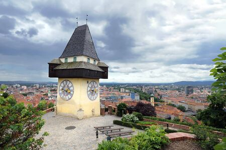 Old clock tower in Graz, landmark of the city