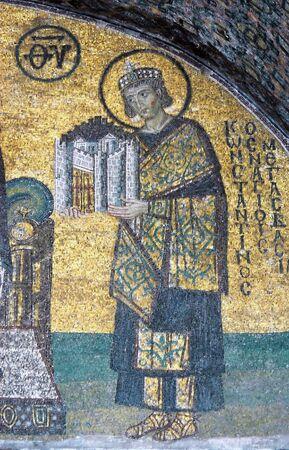 Mosaic of Emperor Constantine in the Hagia Sofia church, Istanbul, Turkey Editorial