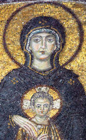 Mosaic of Virgin Mary in the church of Hagia Sofia, Istanbul, Turkey