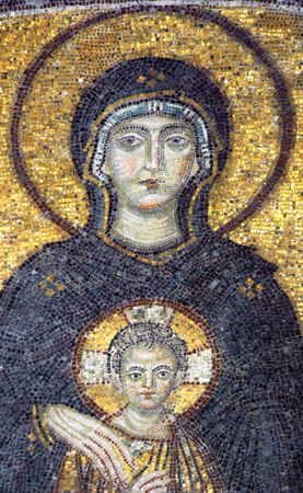 blessed: Mosaic of Virgin Mary in the church of Hagia Sofia, Istanbul, Turkey Editorial