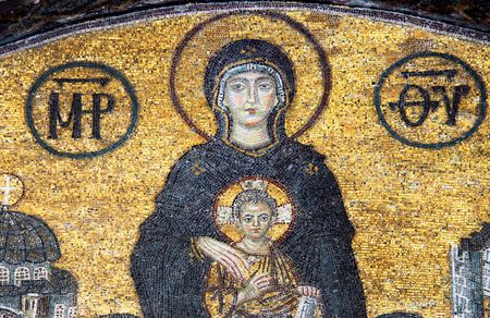 sophia: Mosaic of Virgin Mary in the church of Hagia Sofia, Istanbul, Turkey                                 Editorial