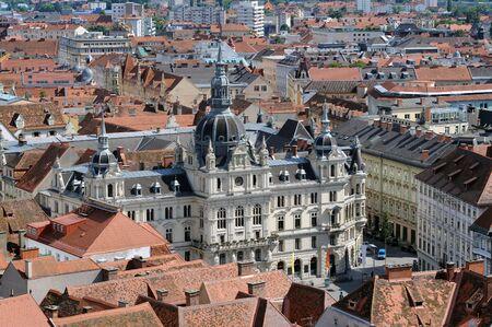 Panorama of the Graz with the city hall, Styria, Austria Stock Photo