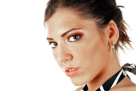 Young attractive female beauty, make up concept with copy space photo