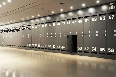 locker room: Modern locker room, interior, copy space