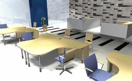 diminishing point: Abstract 3D rendering of modern office interior