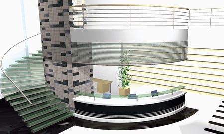 diminishing perspective: Abstract 3D rendering of modern office interior
