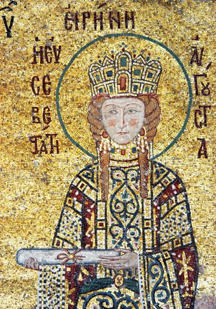 empress: Empress Irene is offering a scroll, mosaic from Hagia Sofia in Istanbul, Turkey