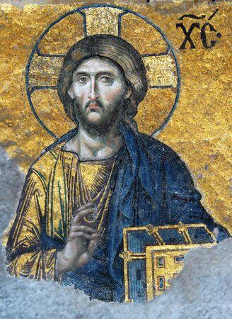 mosaic art: Mosaic of Jesus Christ in the church of Hagia Sofia