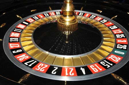 craps: Roulette wheel, close up image Stock Photo