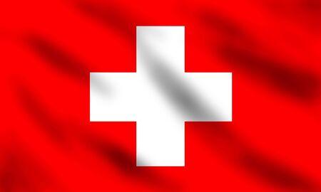 Drapeau de la Suisse onduler, illustration 3d Banque d'images - 7008002