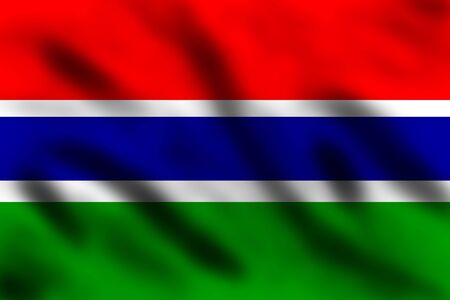 gambia: Waving flag of Gambia, 3d illustration