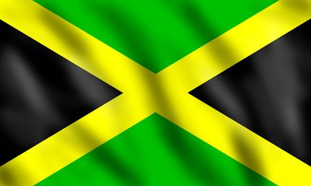 jamaican: Flag of Jamaica, 3d illustration Stock Photo