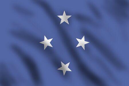 micronesia: Flag of Micronesia, 3d illustration Stock Photo