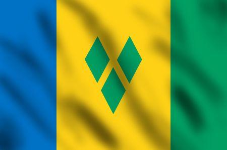 grenadines: Flag of Saint Vincent and Grenadines, 3d illustration Stock Photo
