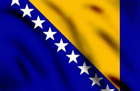 bosnian: Flag of Bosnia and Herzegovina, 3d illustration Stock Photo