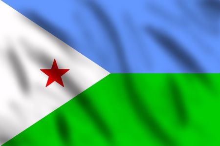 djibouti: Flag of Djibouti, 3d illustration Stock Photo
