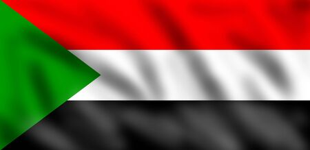 sudan: Flag of Sudan, 3d illustration