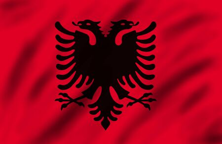 albania: Flag of Albania, 3d illustration