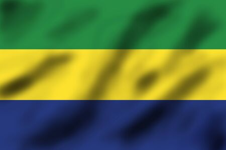 gabon: Waving flag of Gabon, 3d illustration