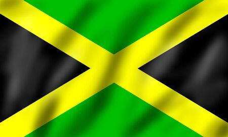 Flag of Jamaica, 3d illustration Stock Photo