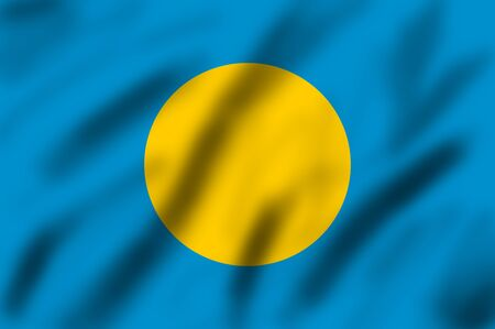 palau: Republic of Palau flag, 3d illustration Stock Photo