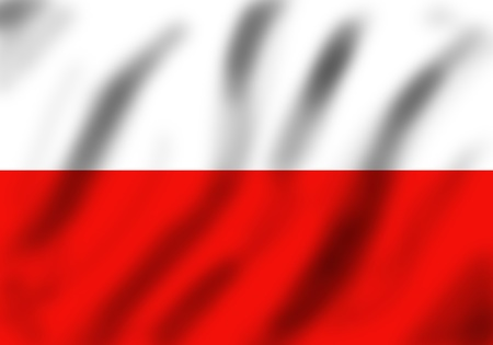 Flag of Poland waving on the wind, 3d, illustration