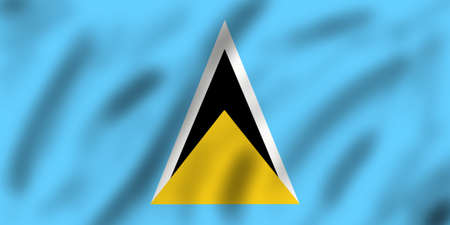 lucia: Flag of Saint Lucia, 3d illustration Stock Photo