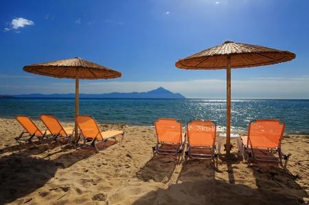 sithonia: Scena di spiaggia da Sarti, Sithonia, Halkidiki, Greece Archivio Fotografico