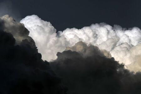 Dangerous thunderstorm clouds, close up image of hurricane