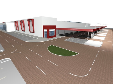 shoping: 3D rendering of modern building, shoping mall exterior Stock Photo