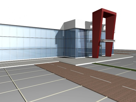 3D rendering of modern building, shoping mall exterior Stock Photo
