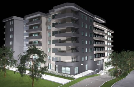3D rendering of modern residential building, night preview photo