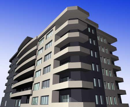 3 point perspective: 3D digital render of modern residential building exterior against gradient sky