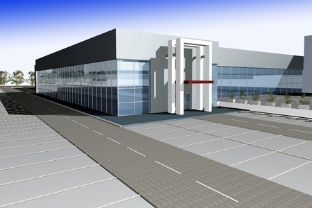 3D render of modern business center against gradient blue sky Stock Photo