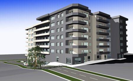 diminishing point: 3D render of modern residential building against gradient sky