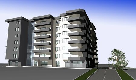 3D render of modern residential building against gradient sky photo
