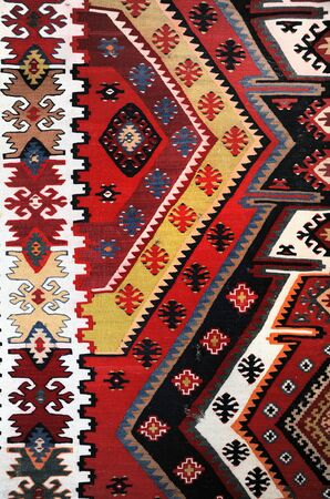 balkan: Hand woven kilim pattern, close up view Stock Photo