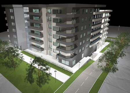 3D digital render of modern residential building