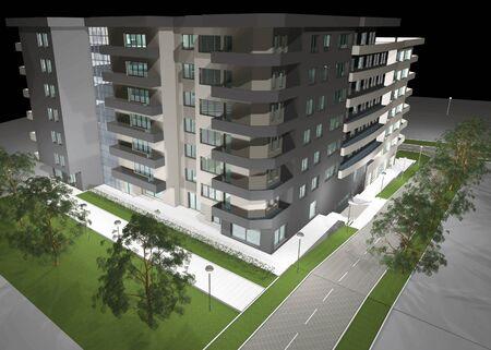 3D digital render of modern residential building Stock Photo - 10013068