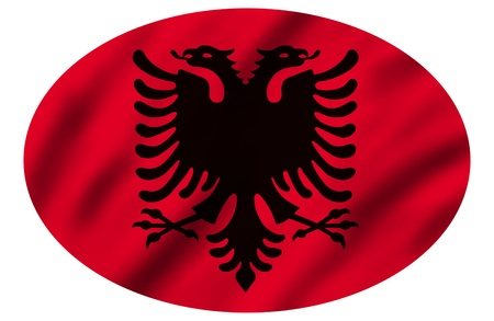 albanian: Flag of Albania, 3d illustration