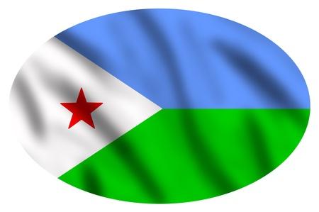 Flag of Djibouti, 3d illustration Stock Photo