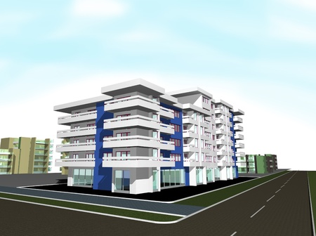 3d render of new modern residential building photo