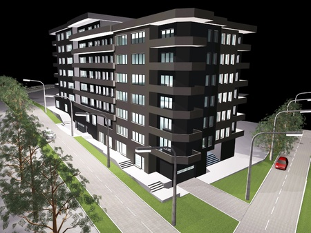 strret: 3d render of new modern residential building Stock Photo