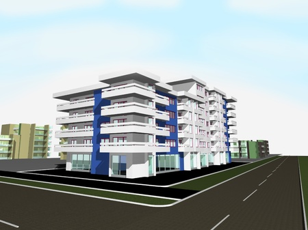strret: 3d render of new modern residential building Stock Photo