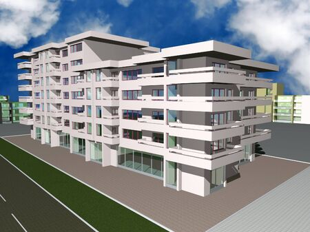 modern buildings: 3d render of new modern residential building Stock Photo
