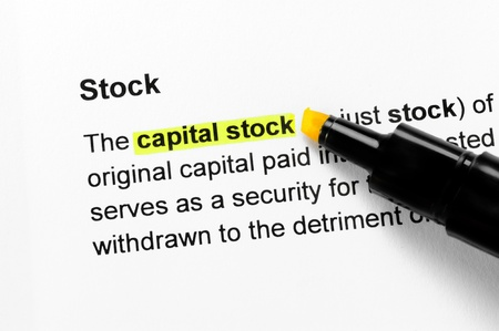 Capital stock text highlighted in yellow, under the Stock heading photo