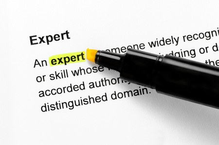 Expert text highlighted in yellow, under the same heading Stock Photo - 10285063