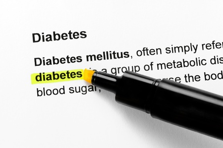 Diabetes text highlighted in yellow, under the same heading